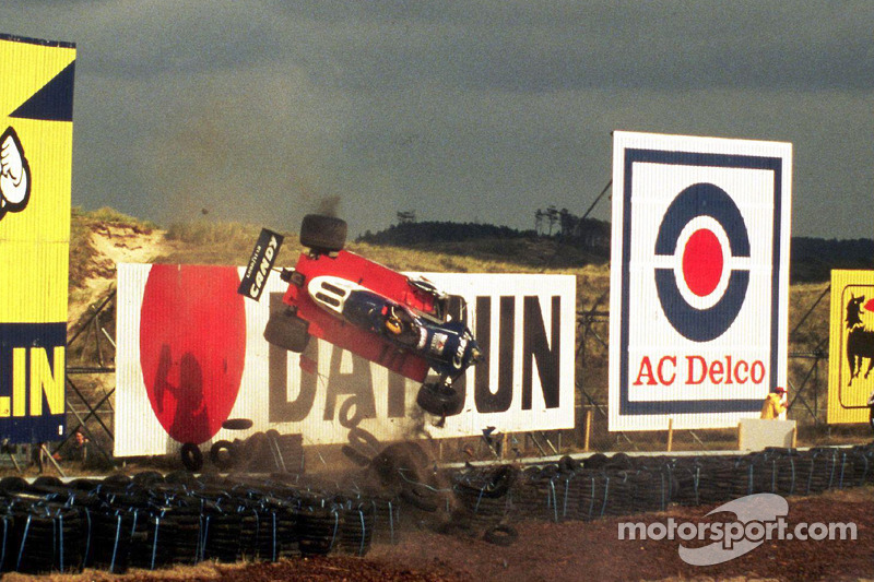 Derek Daly crashes at the 1979 Dutch GP