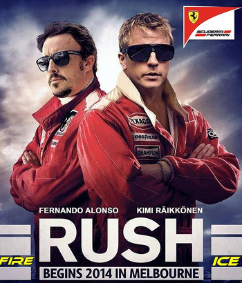 Kimi Raikkonen and Fernando Alonso in a Rush movie poster spoof.