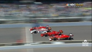 2013 Firestone Indy Lights Close Finish: Freedom 100 4 Wide Finish