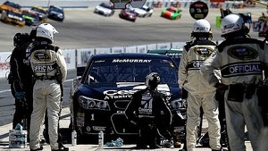 McMurray hits debris, brings out red flag