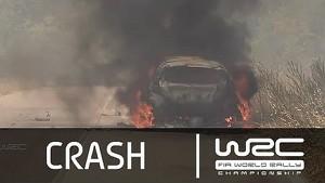 Hirvonen´s burning WRC car/ SS03 Rally Italia Sardegna 2014