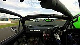 Driver turns rival's side mirror inward during race