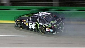 Hornish wrecks after contact with Smith