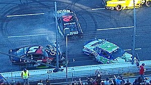 Multi-car accident ignited by slowing Keselowski