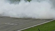 Max Verstappen does burnouts in Assen