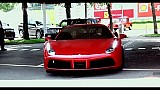 Keanu Reeves at the wheel of the Ferrari 488 GTB