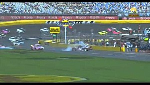 Kyle Larson and Kyle Busch wreck on pit lane at Charlotte
