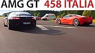 Mercedes AMG GT vs FERRARI 458 ITALIA & ASTON MARTIN VANTAGE DRAG RACE Acceleration V8 Sound