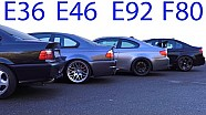 BMW M3 E30 vs M3 E36 vs M3 E46 vs M3 E92 vs M3 F80 Sound Battle 5 Generation V8