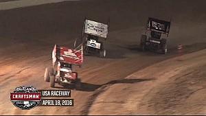 Highlights: World of Outlaws Craftsman Sprint Cars USA Raceway April 18th, 2016
