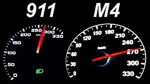 PORSCHE 911 vs BMW M4 Acceleration 0-100 Launch Control Autobahn Onboard 991 Carrera S Turbo