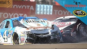 Red flag displayed after another wild restart collects Harvick, Buescher