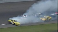 Travis Pastrana, Alex Bowman, and Brian Vickers lose control at Michigan International Speedway 2013