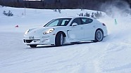 Romain Dumas and the Panamera S E-Hybrid on ice