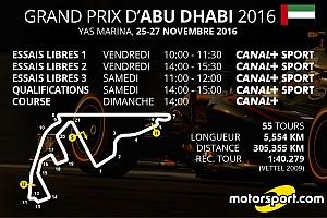 Formule 1 Preview Le programme TV du GP d'Abu Dhabi