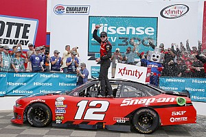 NASCAR XFINITY Race report Blaney passes Harvick on final restart to win Xfinity race at Charlotte