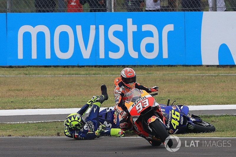 Video Foto Insiden Marquez Vs Rossi Motogp Argentina 2018
