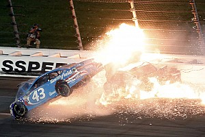 NASCAR Cup Breaking news Almirola cut out of car after massive crash at Kansas