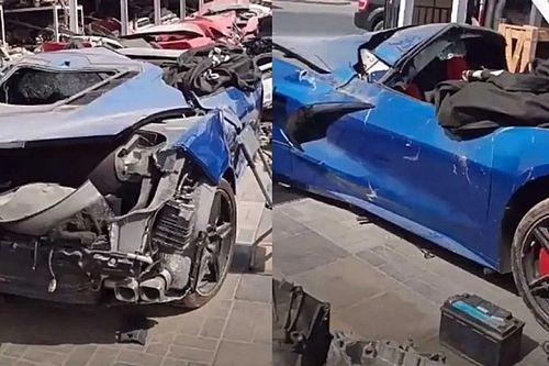 Csúnyán összetört egy C8-as Corvette Stingray a Közel-Keleten