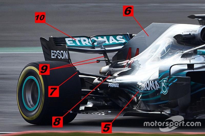 Análisis técnico: las 10 novedades técnicas del Mercedes W09