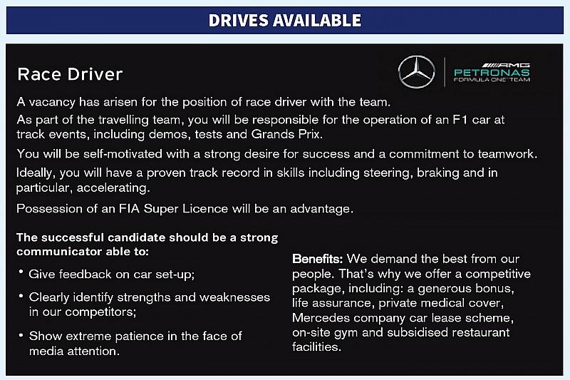 Mercedes розмістила оголошення про пошук пілота Ф1 у журналі Autosport