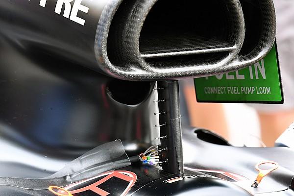 Renault: sette tubi di pitot montati sul supporto del roll bar