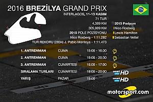 Formula 1 Ön Bakış 2016 Brezilya GP'si saat kaçta hangi kanalda?