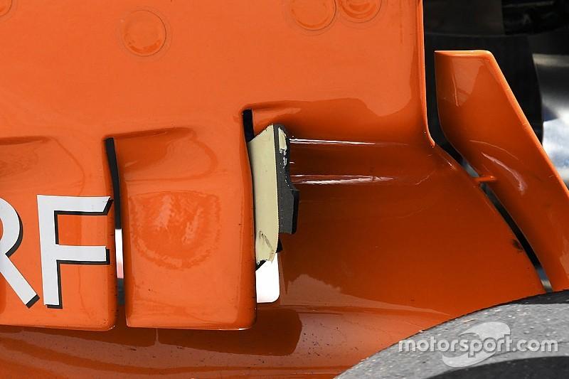 McLaren: il soffiaggio della paratia ostruito da un grande detrito!