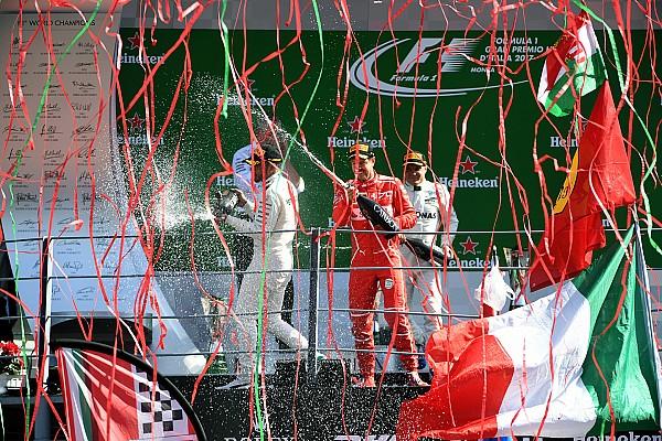 Formel 1 Die Geschichte zum Bild: Luftschlangen auf dem F1-Podium in Monza