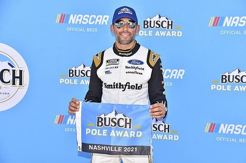 Aric Almirola takes surprise pole in first Nashville Cup race