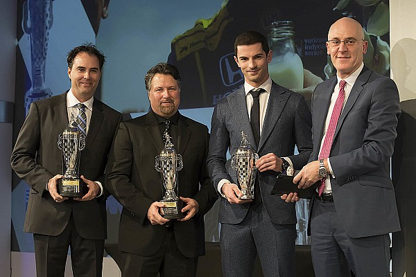 Indy 500 winners Rossi, Andretti, Herta receive 'Baby Borg' trophies