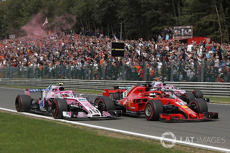Ocon kwam een meter tekort om Belgische GP te leiden