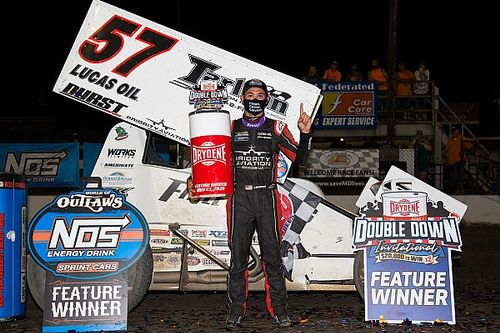 "Kyle Larson ""can't even describe"" his World of Outlaws win"