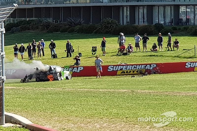 Spectator pictured fighting Bathurst 12 Hour crash fire
