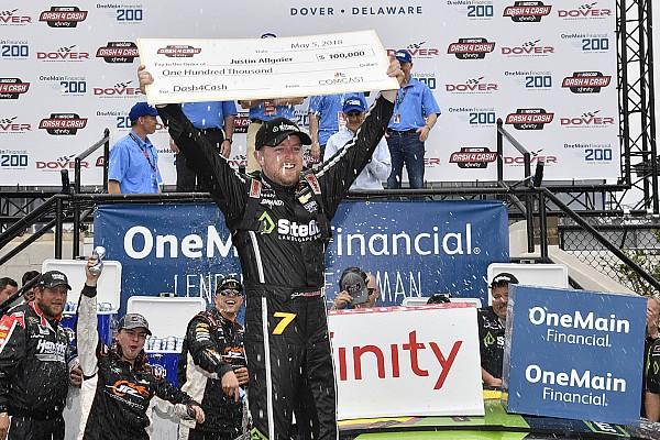Allgaier holds off Sadler for Dover win and $100,000 bonus