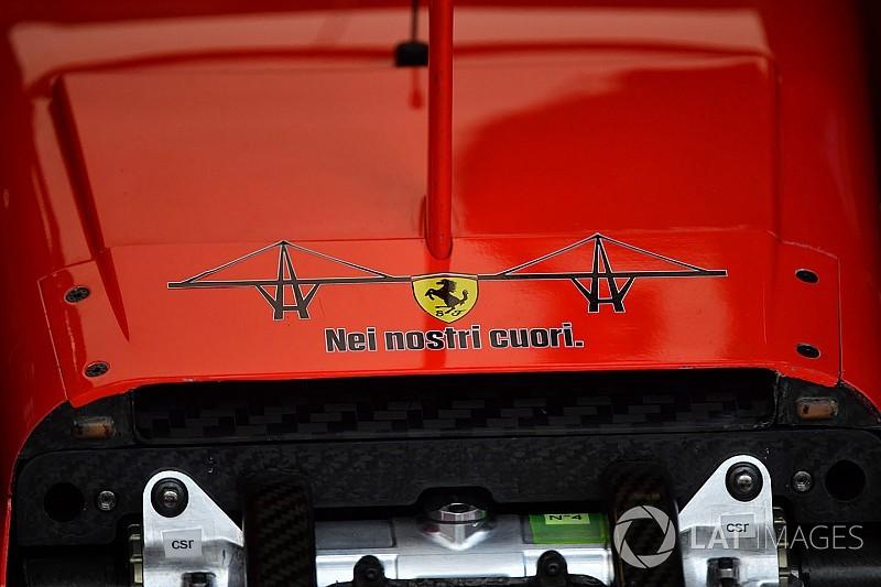 Ferrari recuerda a las víctimas del puente caído en Génova