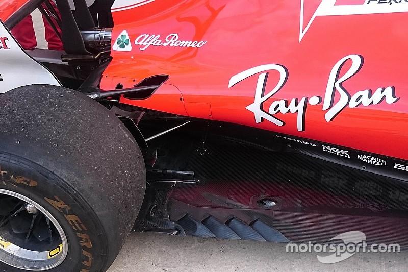 Ferrari: meno slot nel fondo davanti alle ruote posteriori della SF70H