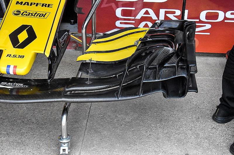 Tecnica Renault: l'ala anteriore molto scarica giova alla R.S.18