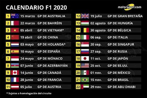 FIA confirma calendario F1 2020 con 22 carreras