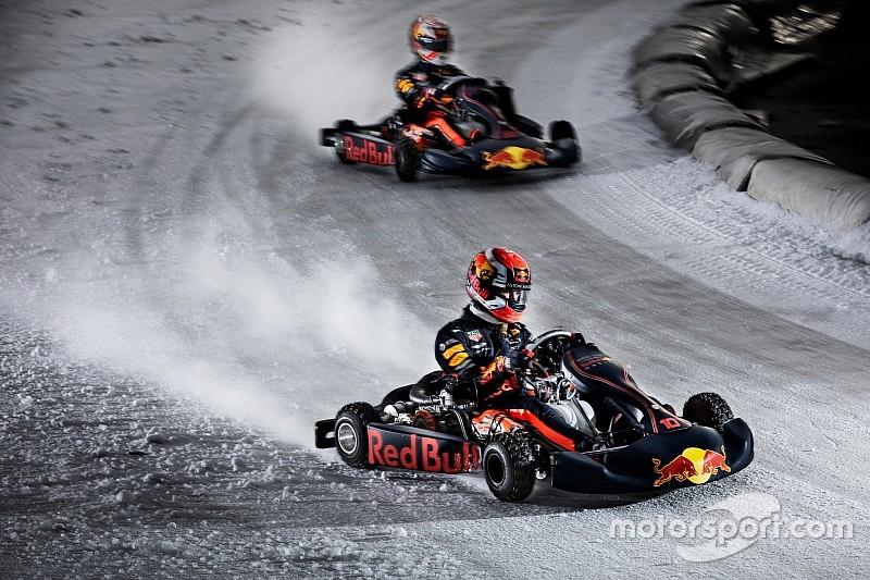 Verstappen e Gasly si sfidano con i kart sul ghiaccio in attesa della Red Bull RB15