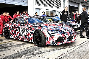 Toyota Supra race car spied with hideously ugly engine