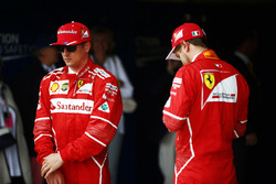 Kimi Raikkonen, Ferrari, the second qualifier, Sebastian Vettel, Ferrari