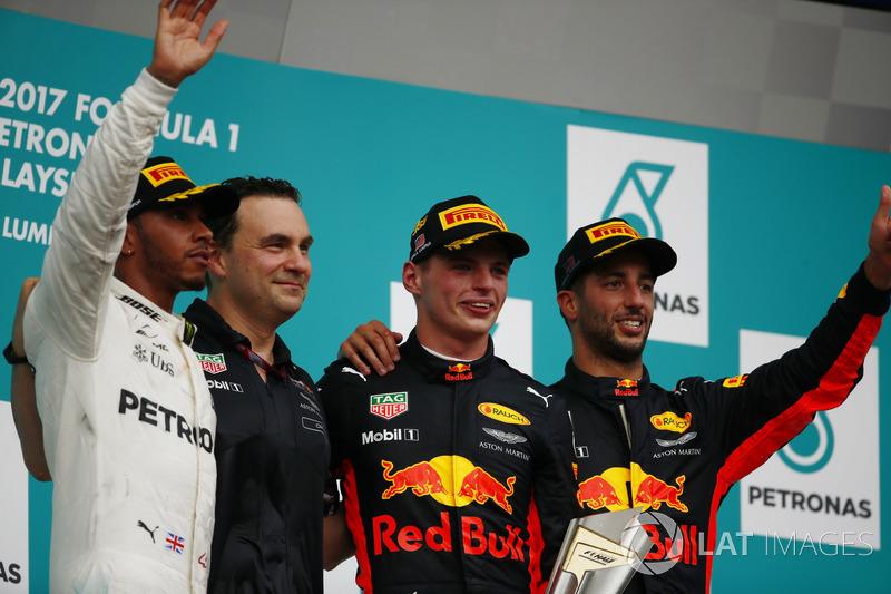 2017: 1. Max Verstappen, 2. Lewis Hamilton, 3. Daniel Ricciardo