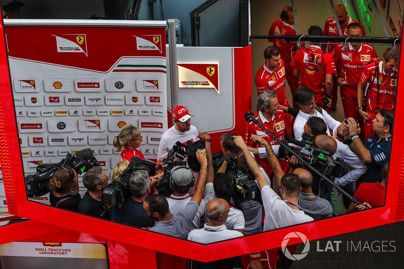 Sebastian Vettel, Ferrari talks to the media