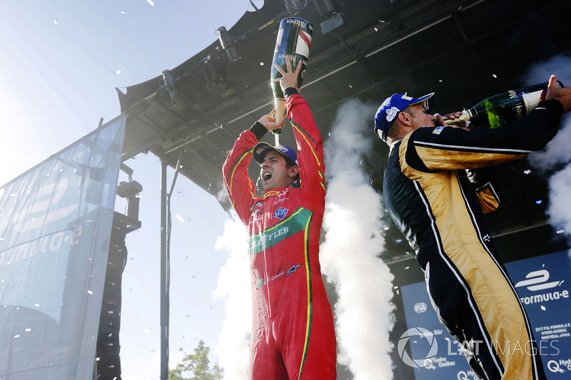 Lucas di Grassi, ABT Schaeffler Audi Sport, and Stéphane Sarrazin, Techeetah, celebrate on the podium