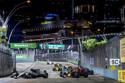 Lewis Hamilton, Mercedes AMG F1 W08, Daniel Ricciardo, Red Bull Racing RB13, Valtteri Bottas, Mercedes AMG F1 W08, Carlos Sainz Jr., Scuderia Toro Rosso STR12, Nico Hulkenberg, Renault Sport F1 Team RS17., Sergio Perez, Sahara Force India F1 VJM10 y Jolyon Palmer, Renault Sport F1 Team RS17