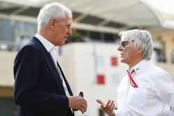 Marco Tronchetti Provera, Executive Vice Chairman and Chief Executive Officer, Pirelli, with Bernie Ecclestone, Chairman Emiritus of Formula 1