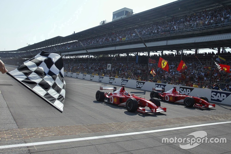 Rubens Barrichello and Michael Schumacher at Indy finishline