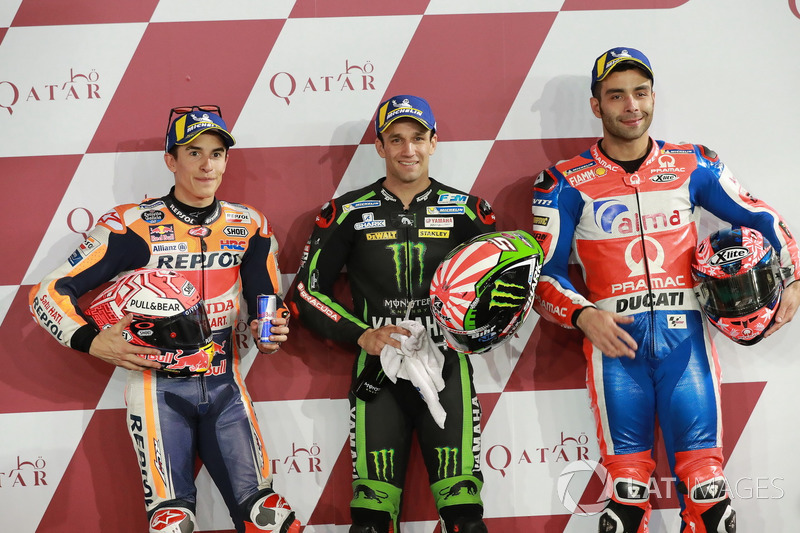 I primi 3 dopo le Qualifiche: Marc Marquez, Repsol Honda Team, Johann Zarco, Monster Yamaha Tech 3, Danilo Petrucci, Pramac Racing