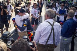 Race winner Max Verstappen, Red Bull Racing celebrates with Christian Horner, Red Bull Racing Team Principal